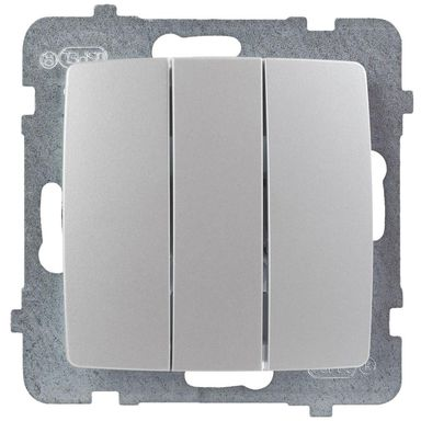 Włącznik potrójny KARO  Srebrny  OSPEL