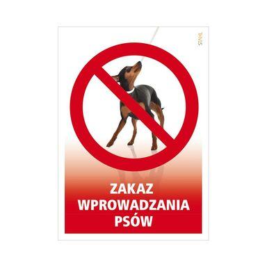 Znak informacyjny ZAKAZ WYPROWADZANIA PSÓW 14.8 x 21 cm