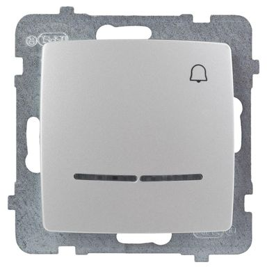 Przycisk DZWONEK PODŚIETLANY KARO  Srebrny  OSPEL