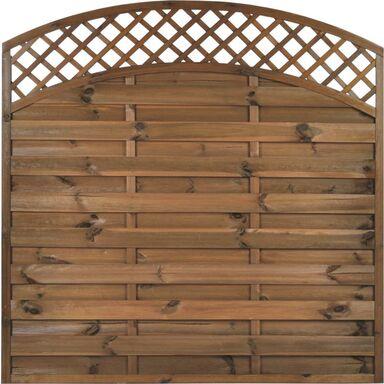 Płot szczelny z łukiem i kratką 180x180 cm drewniany NIVE NATERIAL