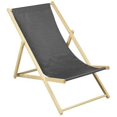 Leżak plażowy drewniany antracytowy