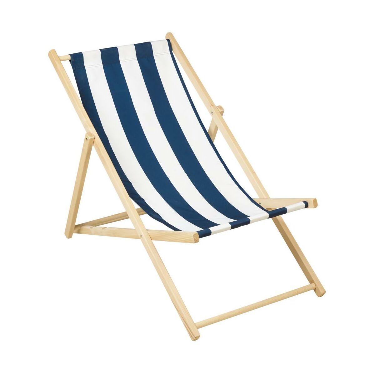Lezak Plazowy Drewniany Bialo Niebieski Lezaki Lezanki Ogrodowe W Atrakcyjnej Cenie W Sklepach Leroy Merlin