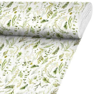 Tkanina bawełniana na mb NICARAGUA BONGO zielona w liście szer. 140 cm