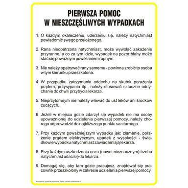Znak informacyjny INSTRUKCJA POMOCY W RAZIE NIESZCZĘŚLIWEGO WYPADKU wys. 0.2 cm