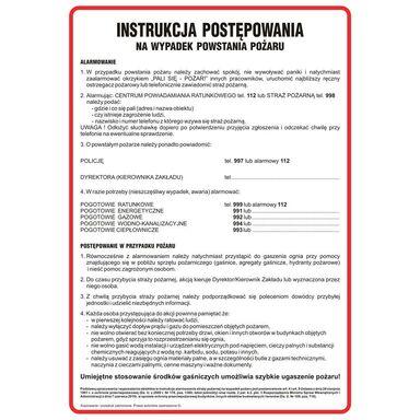 Znak informacyjny INSTRUKCJA POSTĘPOWANIA PODCZAS POŻARU wys. 0.2 cm