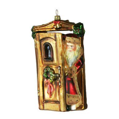 Bombka szklana 16 cm Mikołaj w drzwiach ręcznie malowana PREMIUM