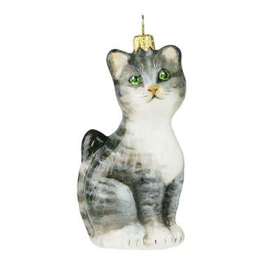 Bombka szklana 10 cm szary kotek ręcznie malowana PREMIUM