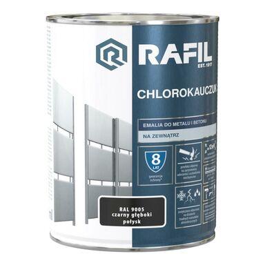 Emalia do metalu i betonu CHLOROKAUCZUK 0.9 l Czarny głęboki RAL 9005 RAFIL