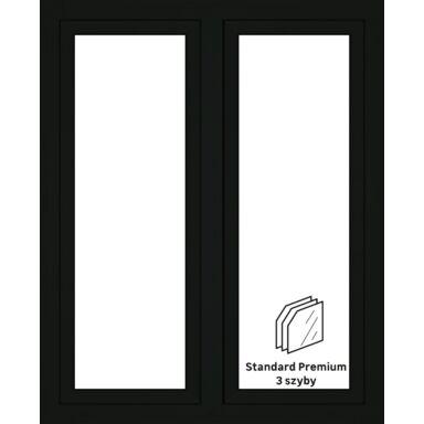 Okno PCV 3-szybowe O32 Antracyt 1165 x 1435 mm