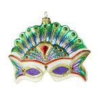 Bombka szklana 9 cm maska z piórami ręcznie malowana PREMIUM