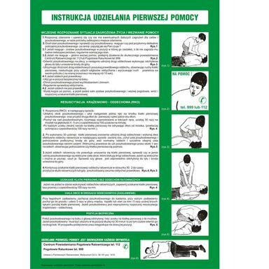 Znak informacyjny INSTRUKCJA UDZIELANIA PIERWSZEJ POMOCY 24.5 x 35 cm