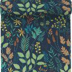 Tapeta w kwiaty i liście Flower zielona winylowa na flizelinie