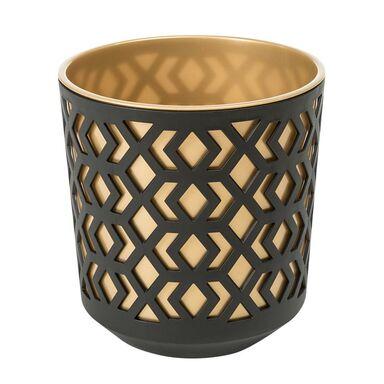 Doniczka plastikowa 19.5 cm czarno-złota AZTEK