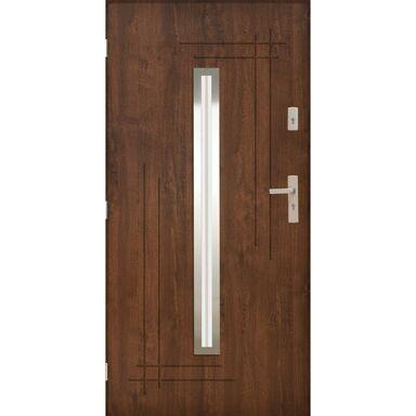 Drzwi zewnętrzne stalowe Ozyrys 2 Orzech 90 lewe Pantor