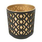 Doniczka plastikowa 25.5 cm czarno-złota AZTEK LAMELA