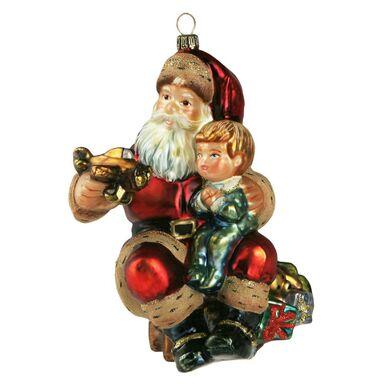 Bombka szklana 14 cm Mikołaj z dzieckiem ręcznie malowana PREMIUM