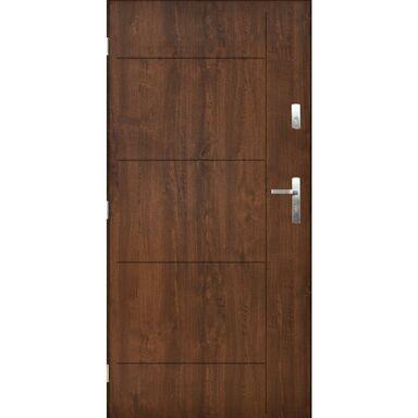 Drzwi zewnętrzne stalowe Panama orzech 90 lewe Pantor