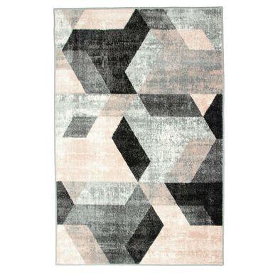Dywan PASTEL KAFEL szaro-różowy 80 x 150 cm