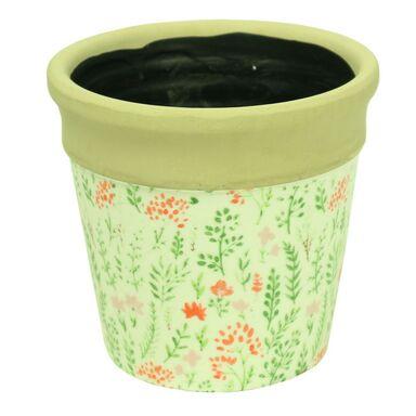 Osłonka ceramiczna 17.5 cm zielona KWIATY