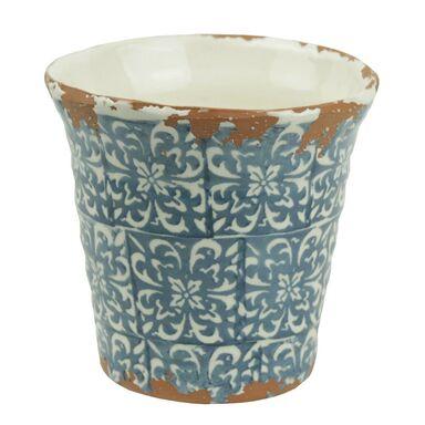 Osłonka gliniana 14.5 cm biało-niebieska 985286 KAEMINGK