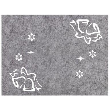 Podkładka świąteczna z filcu Dzwonek prostokątna 40 x 30 cm szara