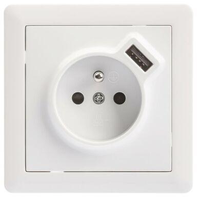 Gniazdo USB POJEDYNCZE SLIM  Biały  LEXMAN