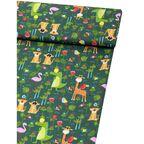 Tkanina dziecięca na mb ROARR ZOO zielona szer. 160 cm bawełniana
