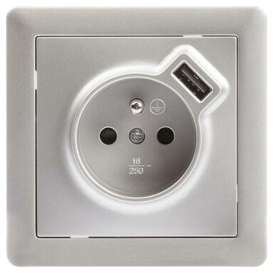 Gniazdo USB POJEDYNCZE SLIM  Srebrny  LEXMAN