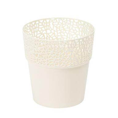 Osłonka na doniczkę 13 cm plastikowa kremowa ROSA