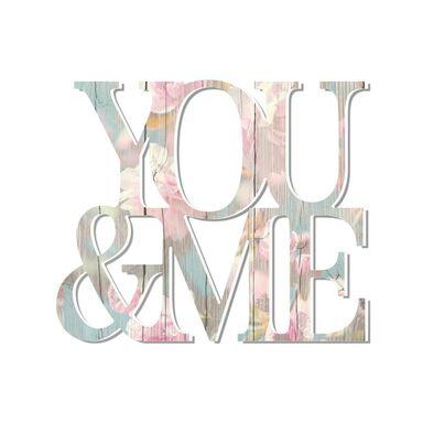 Napis 3D na ścianę YOU AND ME 40 x 40 cm pastelowy