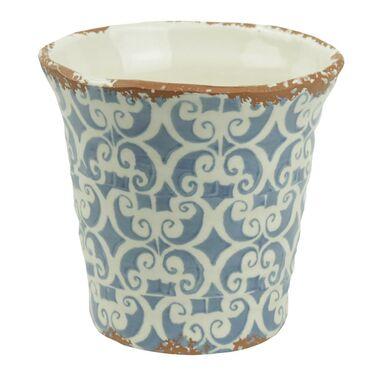 Osłonka ceramiczna 14.5 x 14.5 cm biało-niebieska 985283