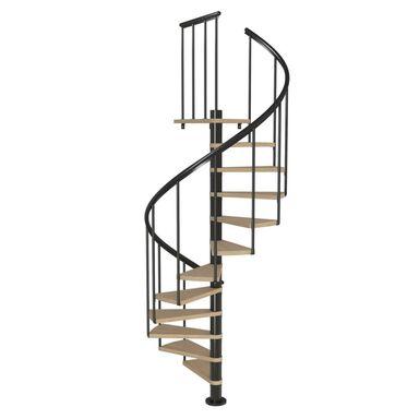 Schody spiralne Szary antracyt ciemny Montreal Classic 2  średnica 140 cm stopnie szerokość 73.3 cm Fornir Dąb 11 sztuk Dolle