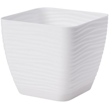 Doniczka plastikowa 14.7 cm biała FALA