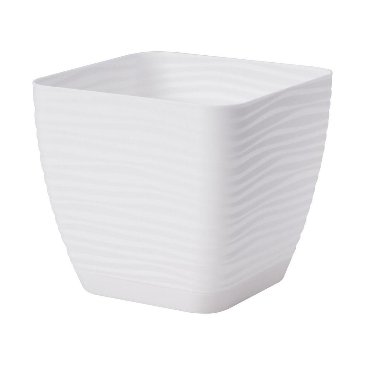 Doniczka plastikowa 16.7 cm biała FALA