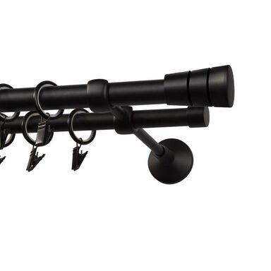 Karnisz SYCYLIA 160 cm podwójny czarny mat 19/16 mm metalowy
