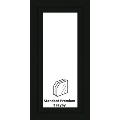Okno PCV 3-szybowe O10 Antracyt 565 x 1135 mm