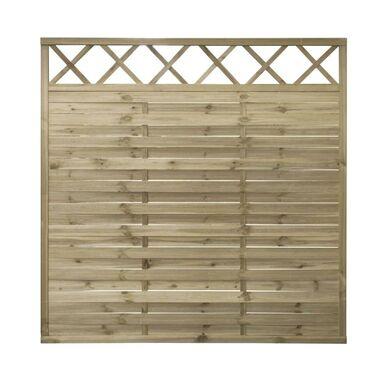 Płot lamelowy z kratką 180x180 cm drewniany STELMET