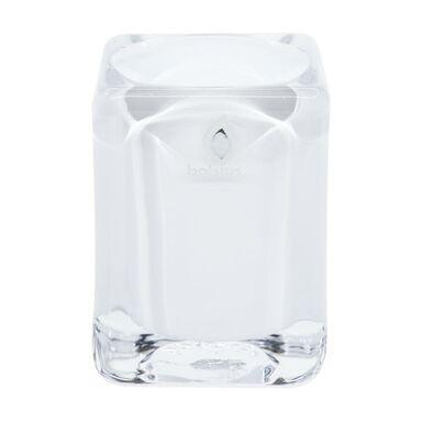 Świecznik szklany wys. 7.6 cm biały