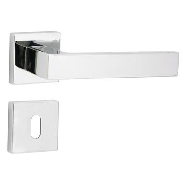 Klamka drzwiowa na rozecie pod klucz BIBLO Chrom