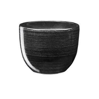 Doniczka ceramiczna 13 cm czarno-srebrna BARYŁKA 1 J1432 EKO-CERAMIKA