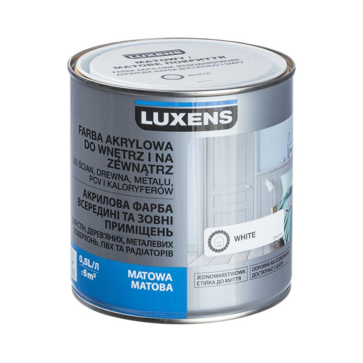 Emalia Akrylowa Jednowarstwowa 0 5 L White Matowa Luxens Emalie Akrylowe Wodne W Atrakcyjnej Cenie W Sklepach Leroy Merlin