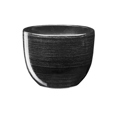 Doniczka ceramiczna 16 cm czarno-srebrna BARYŁKA EKO-CERAMIKA