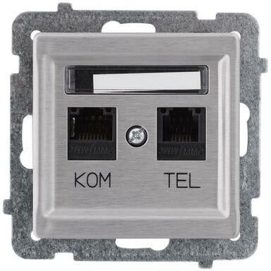 Gniazdo telefoniczno - komputerowe SONATA Srebrny OSPEL