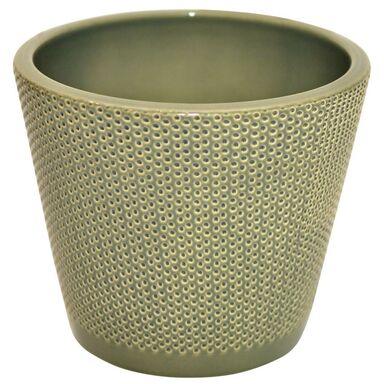 Osłonka na doniczkę 15 cm ceramiczna zielona STOŻEK