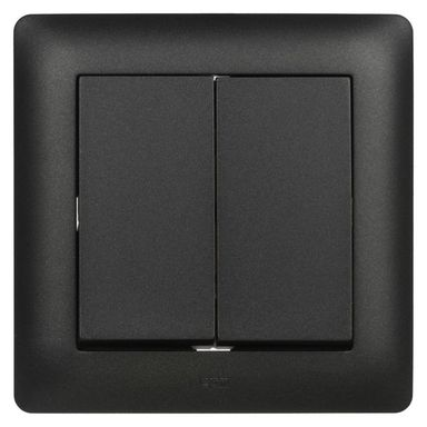 Włącznik podwójny ASTORIA  czarny  ELEKTRO-PLAST