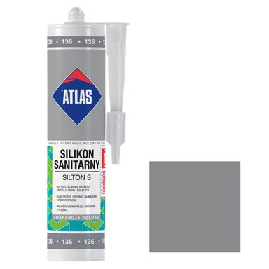 Silikon sanitarny  136 280 ml Srebrny ATLAS