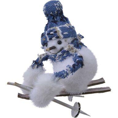 Bałwan na nartach 9 x 13 cm 1 szt. biały