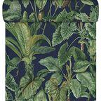 Tapeta w liście PARADISIO zielono-granatowa winylowa na flizelinie