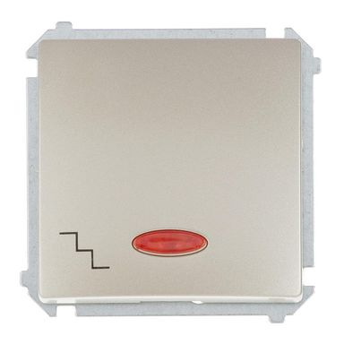 Włącznik schodowy z podświetleniem BASIC  satynowy  SIMON