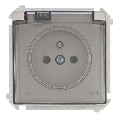 Gniazdo pojedyncze IP44 BASIC srebrny SIMON